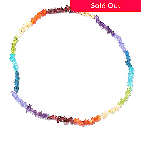 129-388 - NYC II Multi Gemstone Exotic Rainbow Chip Necklace