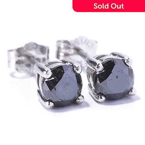 129-392 - Diamond Treasures Sterling Silver 1.00ctw Black Diamond Stud Earrings