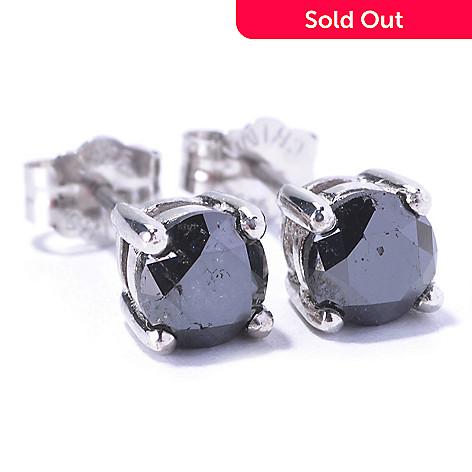 129-392 - Diamond Treasures® Sterling Silver 1.00ctw Black Diamond Stud Earrings