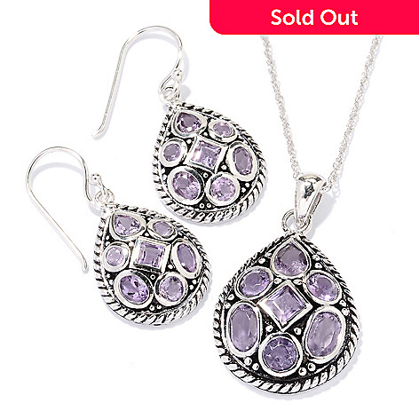 129-394 - Gem Insider™ Sterling Silver Multi Shaped Gemstone Earrings & Pendant Set
