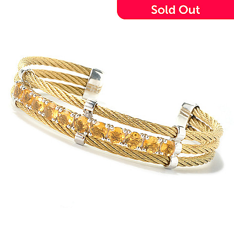 129-396 - Gem Treasures Stainless Steel & Sterling Silver 7'' Gemstone Cuff Bracelet