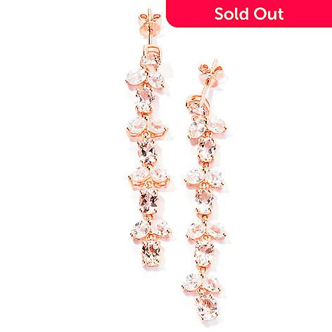 129-400 - NYC II® 1.75'' 7.81ctw Morganite & White Zircon Five-Tier Drop Earrings