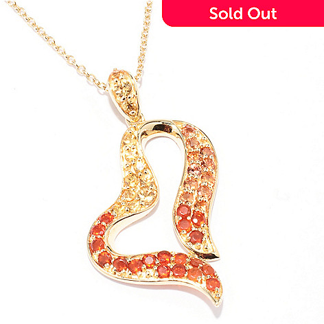 129-404 - NYC II™ 1.36ctw Fire Opal & Multi Color Sapphire Heart Pendant w/ 18'' Chain