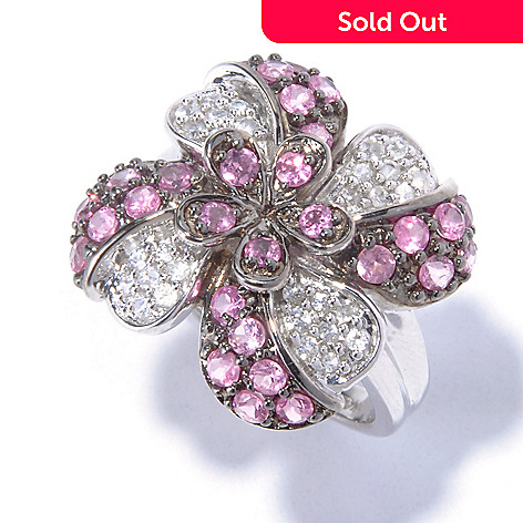 129-407 - NYC II 1.48ctw Pink Spinel & White Zircon Flower Ring