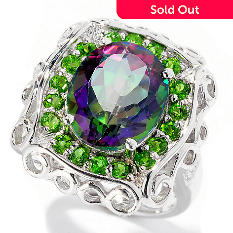 129-410 - NYC II® 5.28ctw Mystic Topaz, Chrome Diopside & White Zircon Ring