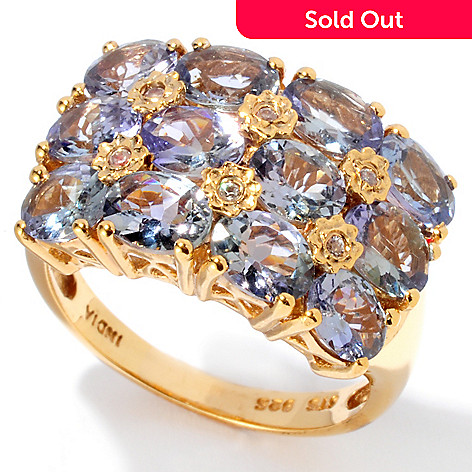129-411 - NYC II 3.63ctw Bondi Blue Tanzanite & White Zircon Band Ring