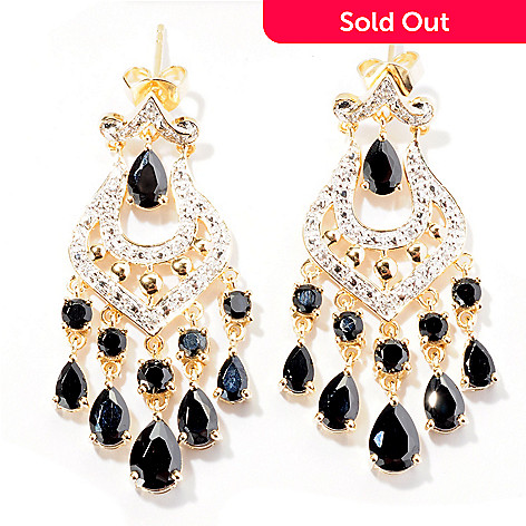 129-415 - NYC II™ 1.5'' 7.02ctw Black Spinel & White Zircon Chandelier Earrings