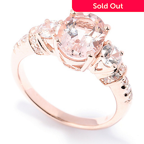 129-417 - NYC II™ 9 x 7mm Pink Morganite & White Zircon Ring