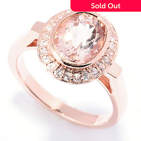 129-418 - NYC II® 2.08ctw Morganite & White Zircon Halo Ring