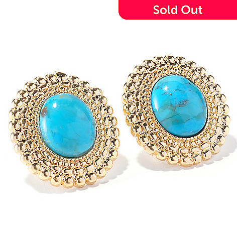 129-420 - Toscana Italiana 18K Gold Embraced™ 11 x 7mm Turquoise Beaded Stud Earrings