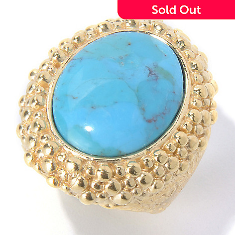 129-421 - Toscana Italiana 18K Gold Embraced™ 20 x 15mm Turquoise Textured Ring