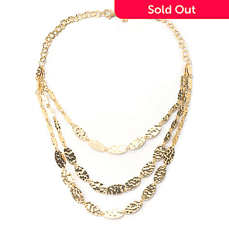 129-422 - Toscana Italiana Gold Embraced™ 20'' Cascading Hammered Oval Link Necklace