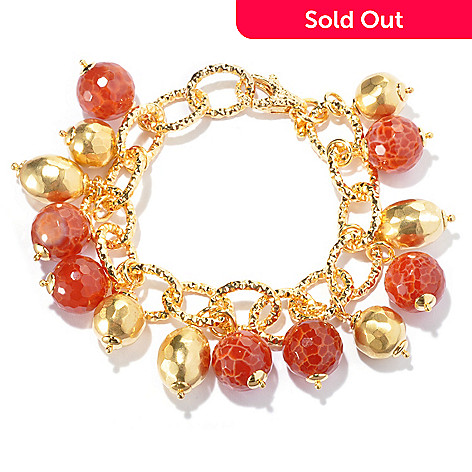129-424 - Toscana Italiana 18K Gold Embraced™ 8'' Orange Quartz & Hammered Bead Charm Bracelet