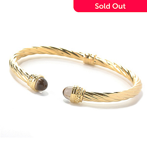 129-425 - Toscana Italiana Gold Embraced™ 7'' Quartz End Cap Twisted Cuff Bracelet