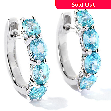 129-426 - NYC II™ 4.46ctw Blue Zircon Four-Stone Hoop Earrings