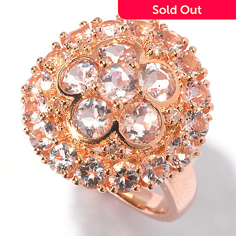 129-432 - NYC II® 3.10ctw Morganite & White Zircon Flower Ring