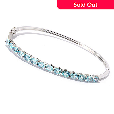 129-451 - NYC II™ 7.01ctw Blue Zircon Hinged Bangle Bracelet