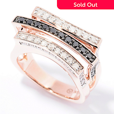 129-454 - Beverly Hills Elegance® 14K Rose Gold 1.25ctw Black & White Diamond Three-Row Ring