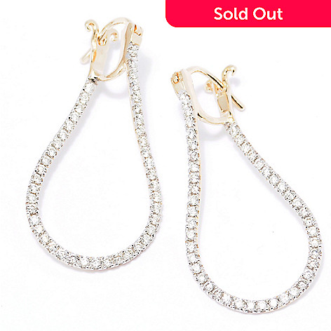 129-458 - Beverly Hills Elegance 14K Gold 1.25'' 0.85ctw Diamond Twisted Hoop Earrings