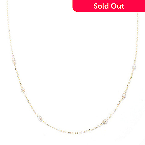 129-461 - Beverly Hills Elegance 14K Gold 18'' 0.25ctw Diamond Station Chain