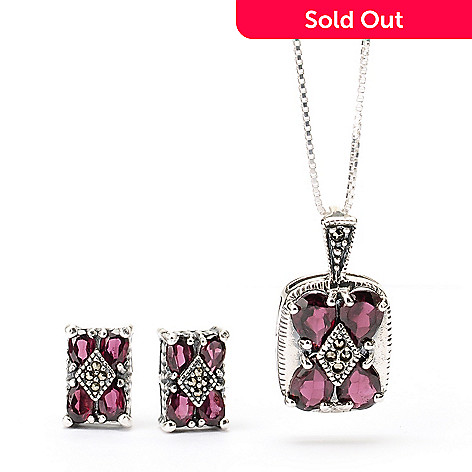 129-478 - Gem Insider™ Sterling Silver Garnet & Marcasite Earrings & Pendant Set w/ 18'' Chain