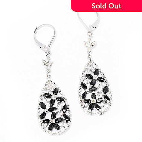 129-481 - NYC II 2.31ctw Diamond & Black Spinel Marquise Shaped Flower Earrings