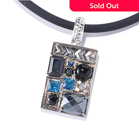 129-485 - Men's en Vogue II 5.97ctw Multi Gemstone ''Manhattan'' Pendant w/ Cord