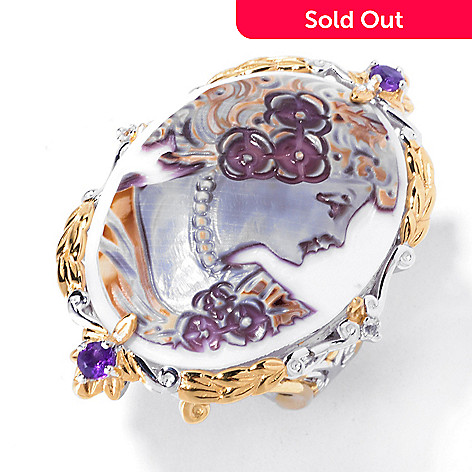 129-487 - Gems en Vogue 30mm Hand-Carved Tiger Shell Cameo, Amethyst & White Sapphire Ring