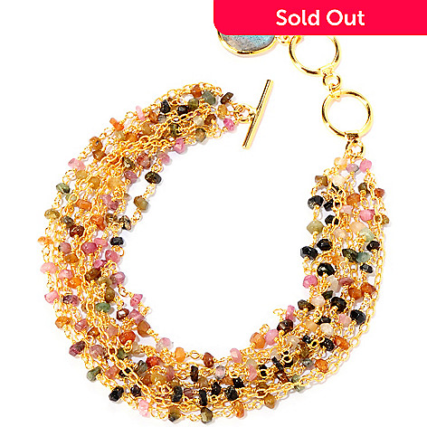 129-488 - Kristen Amato Multi-Colored Tourmaline & Gem Drop ''Biscayne'' Bracelet