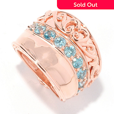 129-489 - Dallas Prince 2.64ctw Blue Zircon Wide Band Ring