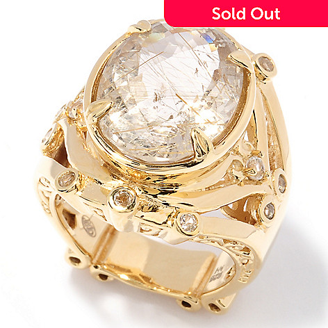 129-490 - Dallas Prince 9.00ctw Oval Rutilated Quartz & White Topaz Ring