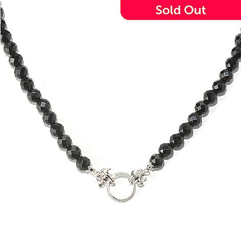 129-492 - Dallas Prince Sterling Silver 18'' Black Onyx Toggle Necklace