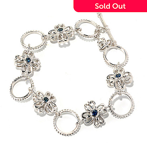 129-496 - Dallas Prince Sterling Silver 7.75'' Blue Sapphire Flower & Circle Bracelet