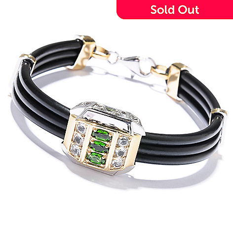 129-498 - Men's en Vogue 1.65ctw Chrome Diopside & White Topaz Cord Bracelet