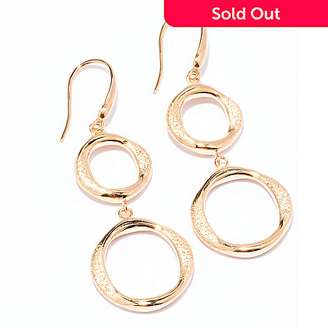 129-500 - Charles Garnier Gold Embraced™ Electroform Double Circle Drop Earrings