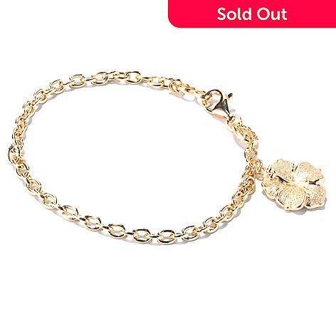 129-509 - Charles Garnier Gold Embraced™ 8'' Electroform Diamantini Hibiscus Bracelet