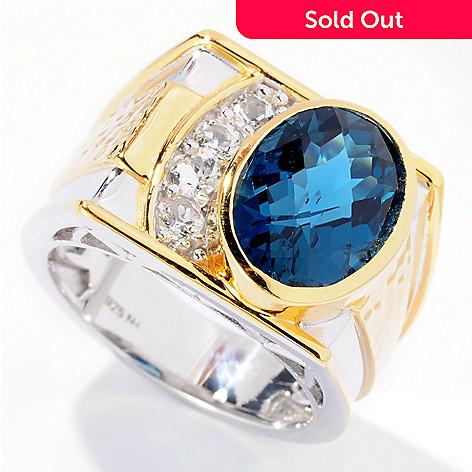 129-522 - Men's en Vogue Checkerboard Cut Gemstone & White Topaz Ring