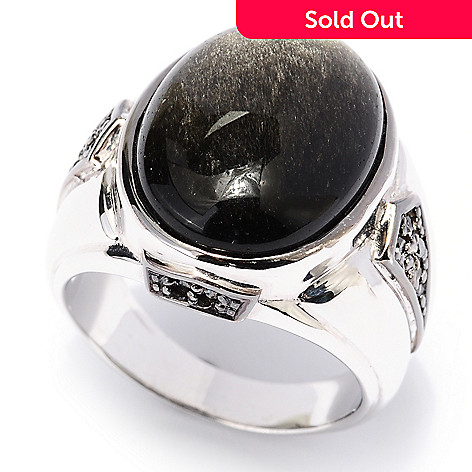 129-527 - Men's en Vogue 20 x 15mm Black Obsidian & Black Diamond Ring