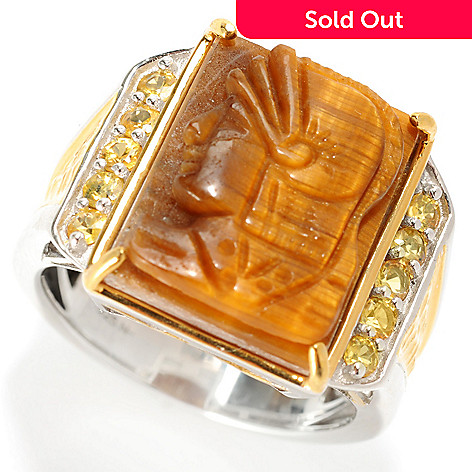 129-528 - Men's en Vogue 18 x 13mm Carved Tiger Eye & Yellow Sapphire Knight's Head Ring