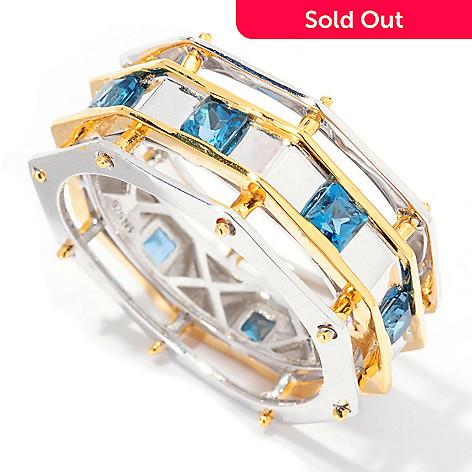 129-529 - Men's en Vogue 1.20ctw London Blue Topaz Octagon Shaped Eternity Band Ring