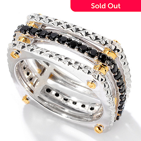 129-530 - Men's en Vogue Black Spinel Textured Square Eternity Band Ring