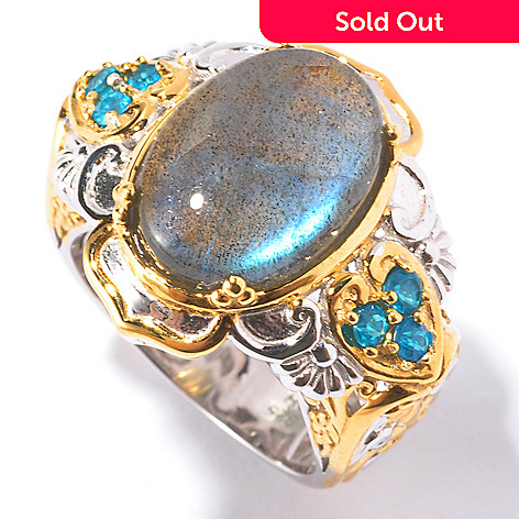 129-541 - Gems en Vogue 14 x 10mm Blue Labradorite & Neon Apatite Ring