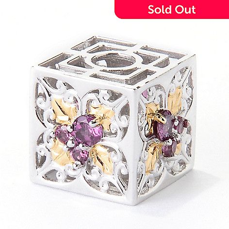 129-543 - Gems en Vogue Rhodolite Garnet Poinsettia Cube Slide-on Charm