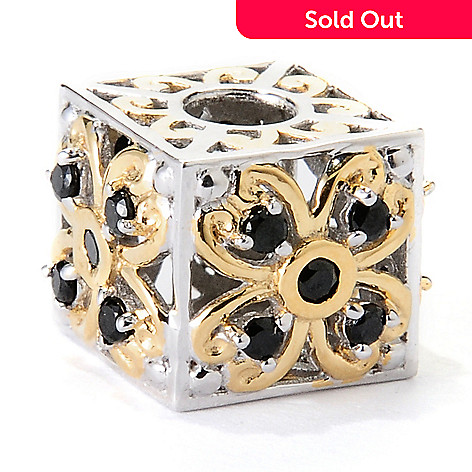 129-546 - Gems en Vogue Black Spinel Flower Cube Slide-on Charm