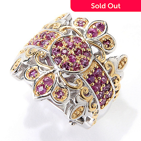 129-547 - Gems en Vogue 1.32ctw Siamese Ruby Band Ring