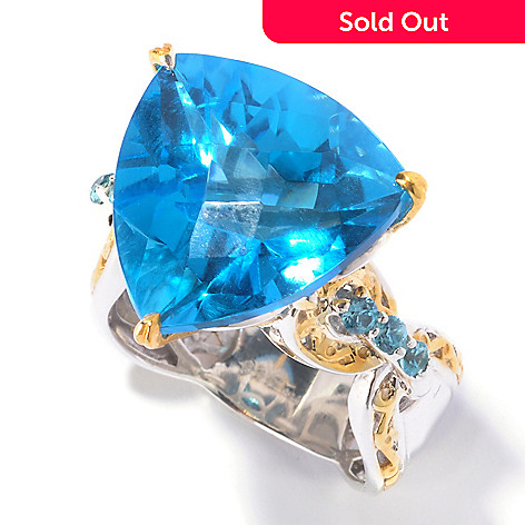 129-548 - Gems en Vogue 16.12ctw Trillion Swiss Blue Topaz & Blue Zircon Ring