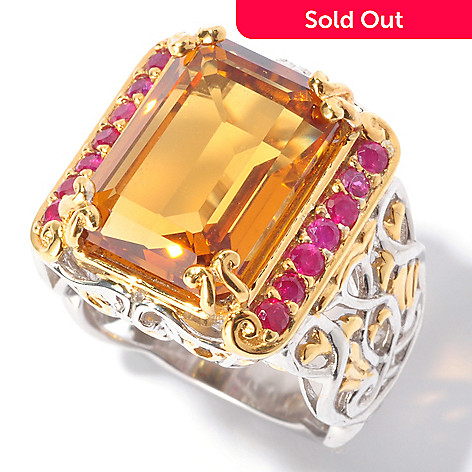 129-549 - Gems en Vogue 7.00ctw Emerald Cut Madeira Citrine & Ruby Ring