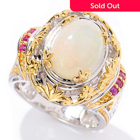 129-553 - Gems en Vogue 11 x 9mm Ethiopian Opal & Pink Sapphire Ring