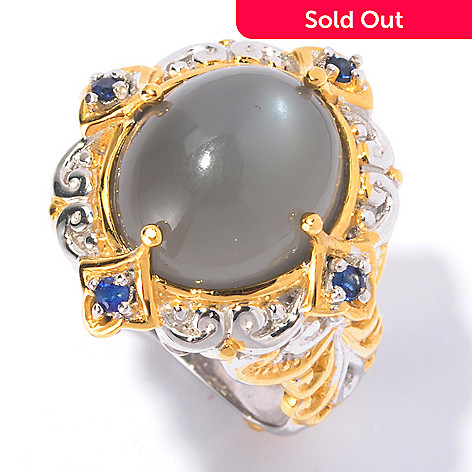 129-554 - Gems en Vogue 14 x 12mm Moonstone & Sapphire Ring