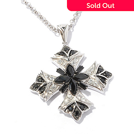 129-557 - NYC II 2.06ctw Black Spinel & White Zircon Cross Pendant w/ 18'' Chain